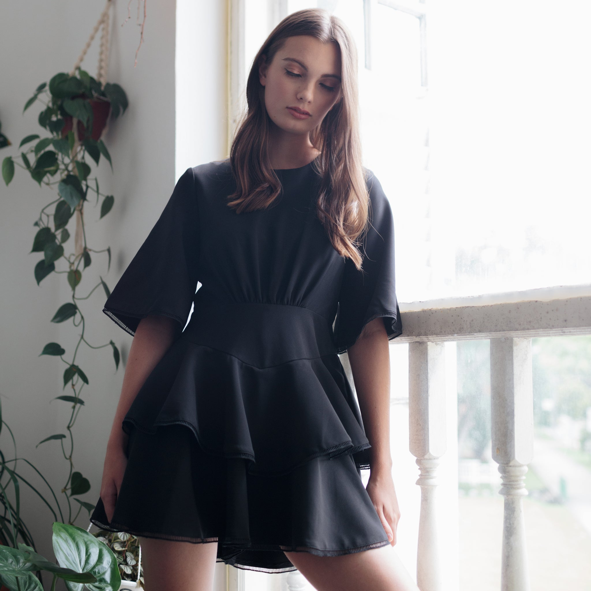 TIERED PLAYSUIT <BR> BLACK