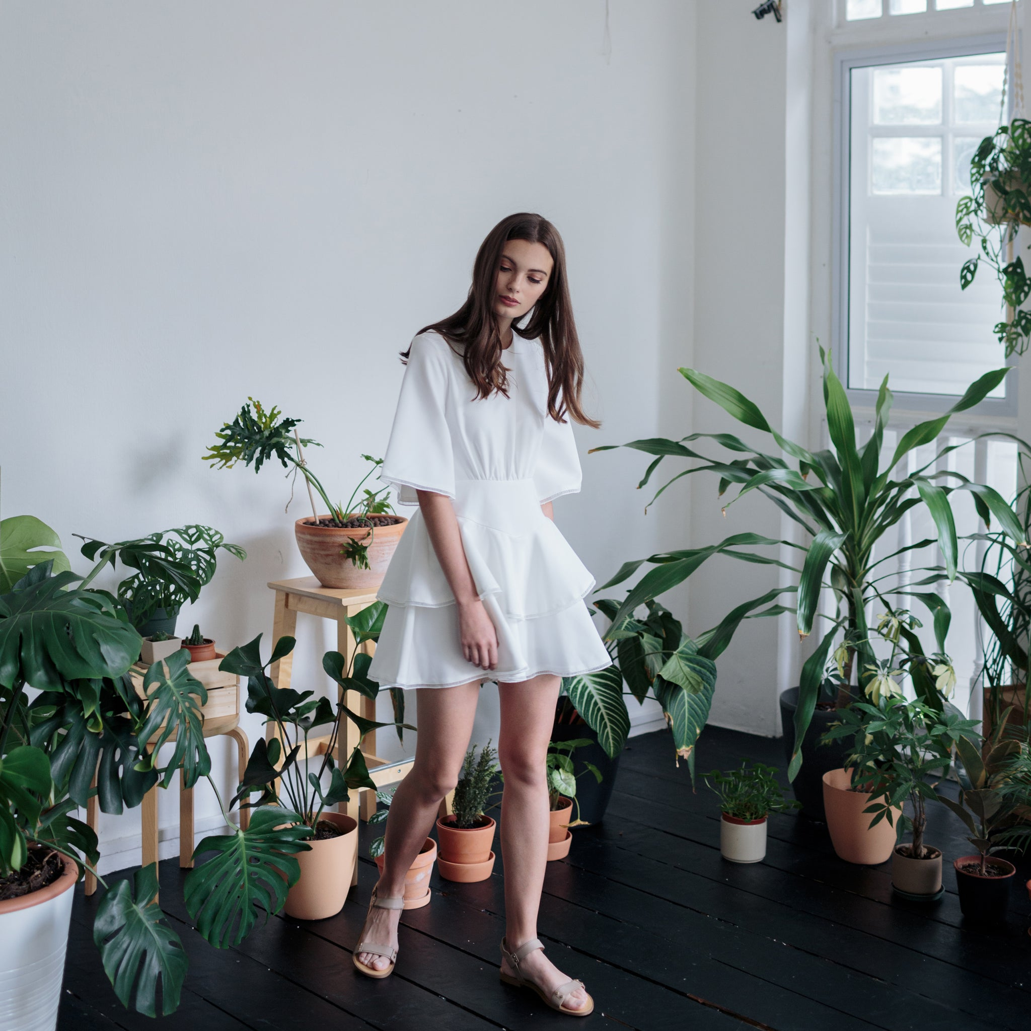 TIERED PLAYSUIT <BR> WHITE