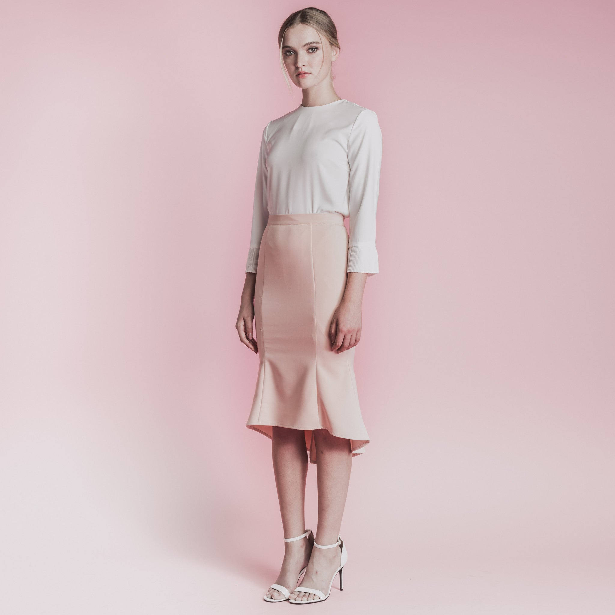 PLEATED CUFF 7/8 SLEEVED TOP