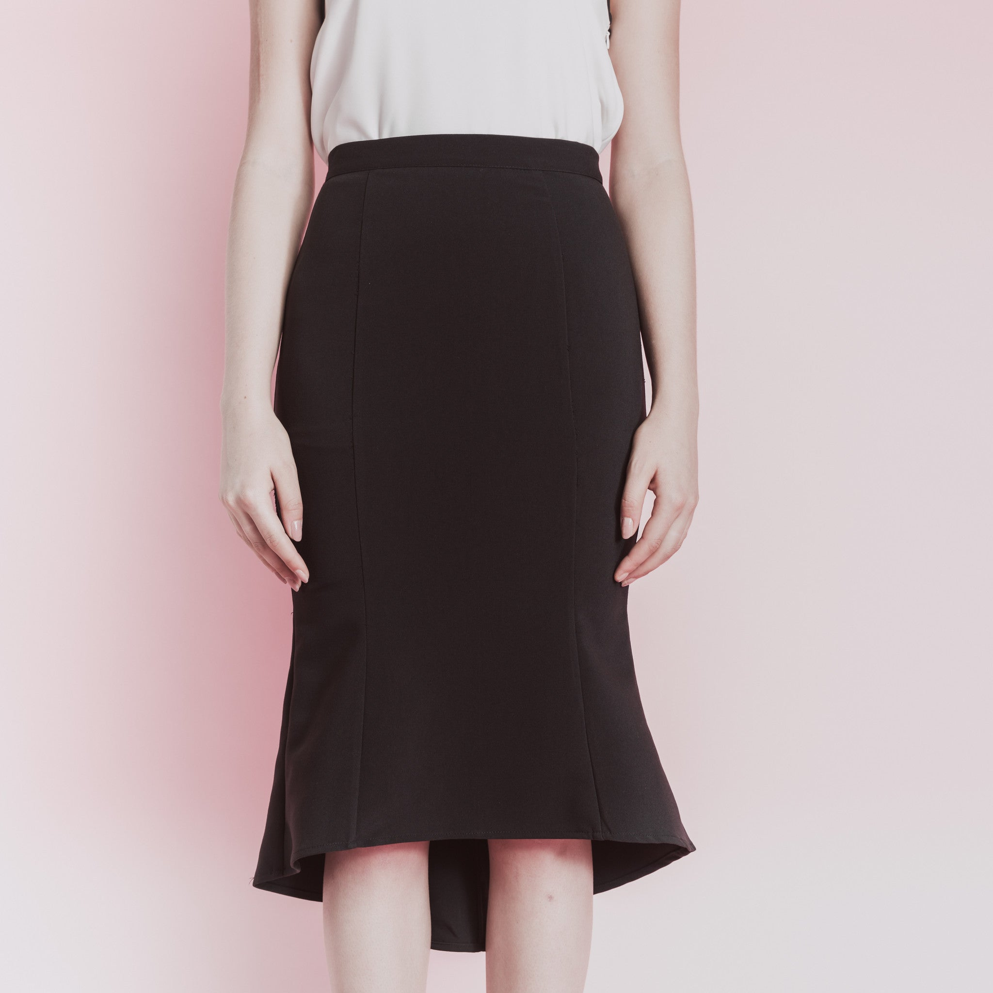 ASYMMETRICAL MERMAID MIDI SKIRT