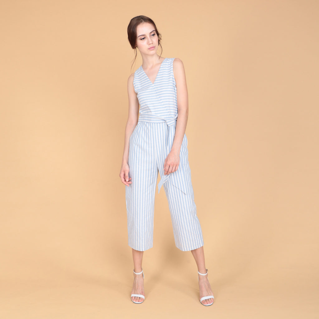 V-NECK PINSTRIPE JUMPSUIT
