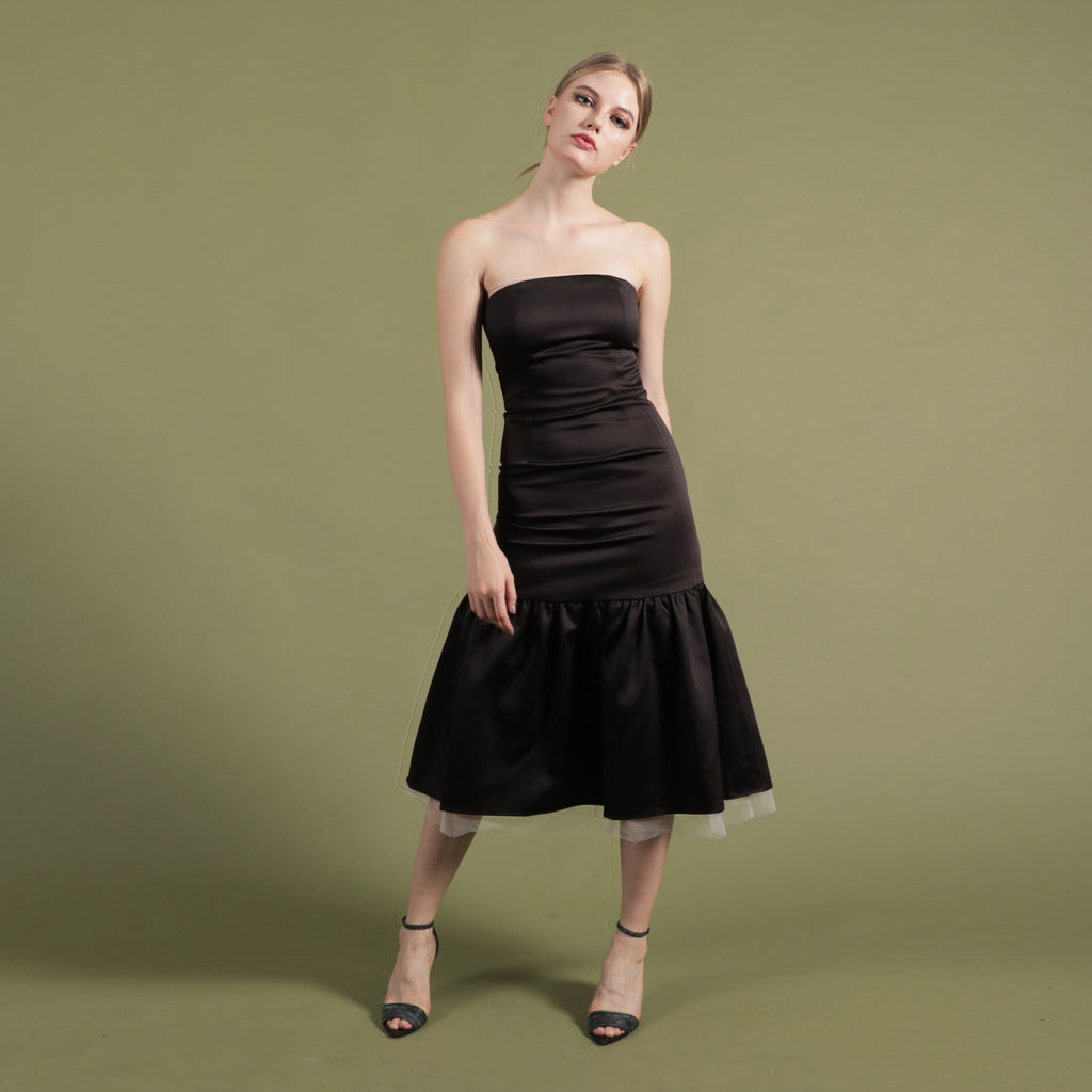 NOIR BY SOIGNÉ<br> STRAPLESS DROP WAIST DRESS