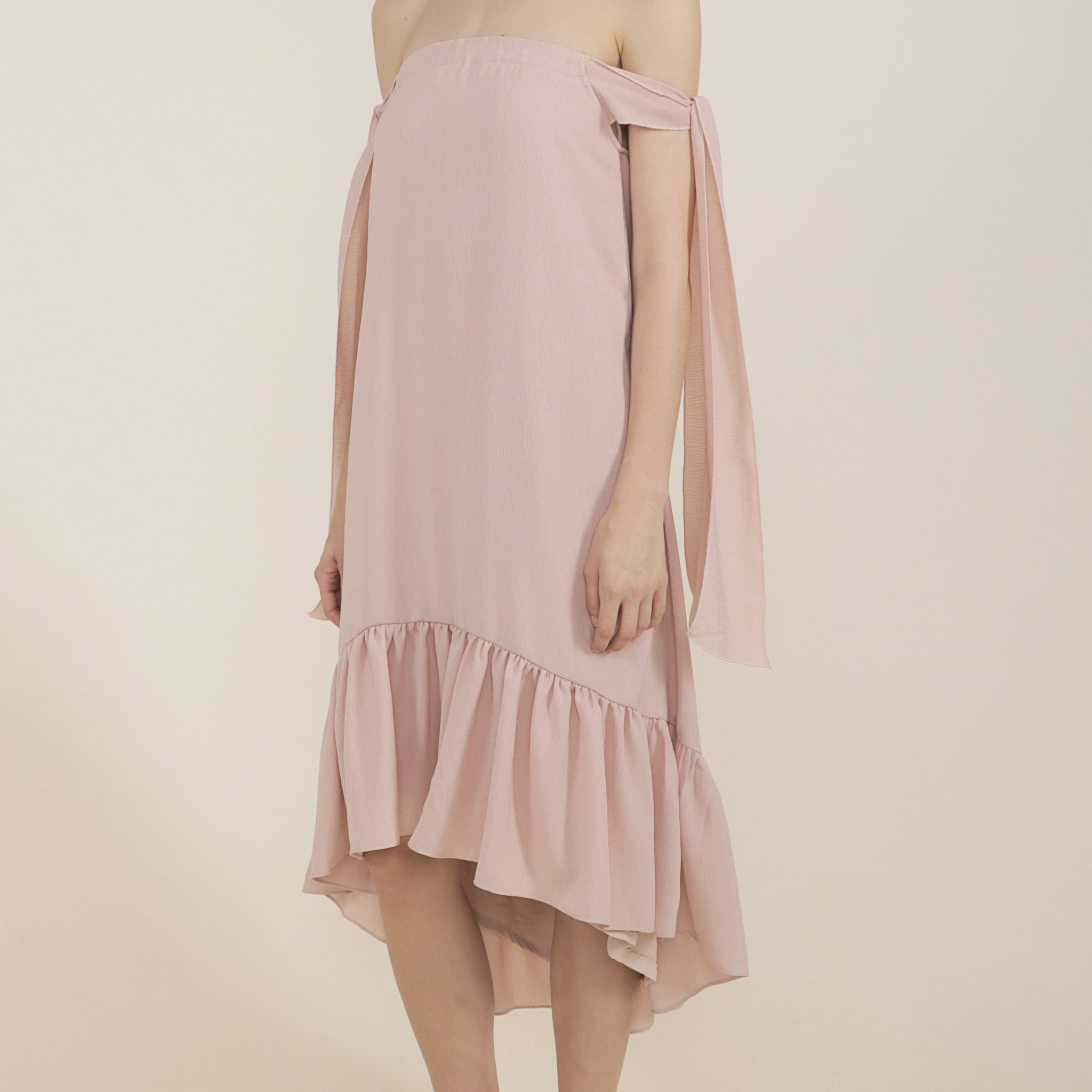 OFF-SHOULDER DRESS WITH TIE SASH <br> NUDE