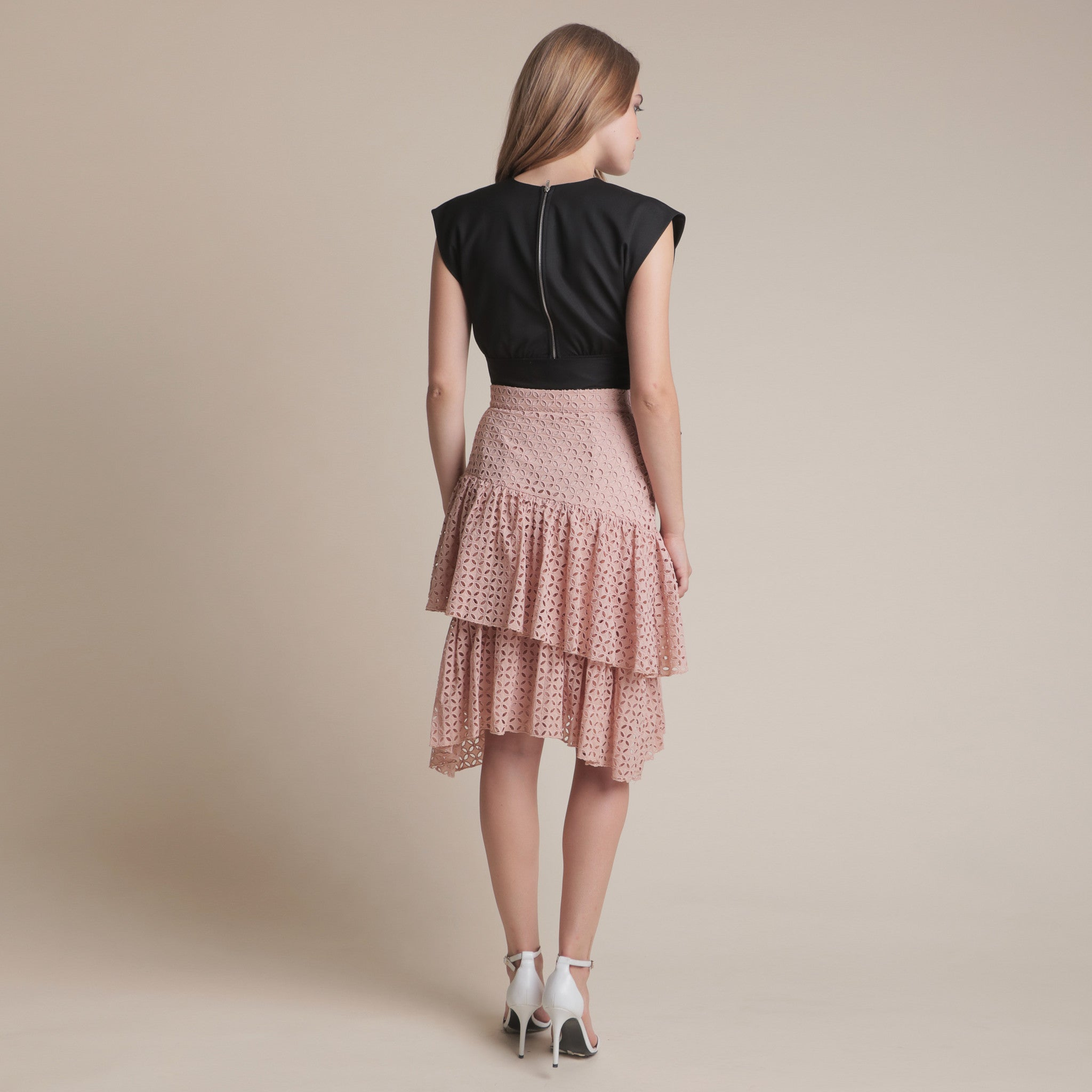 TEXTURED LAYERED MIDI SKIRT <BR> NUDE