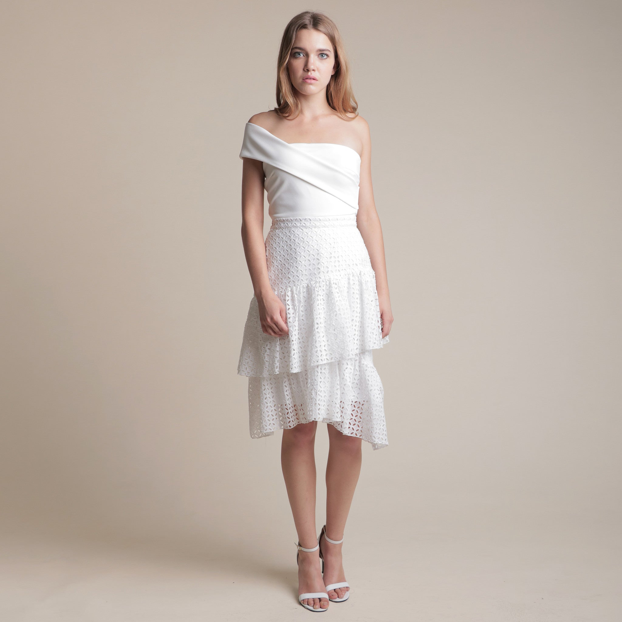 TEXTURED LAYERED MIDI SKIRT <BR> WHITE
