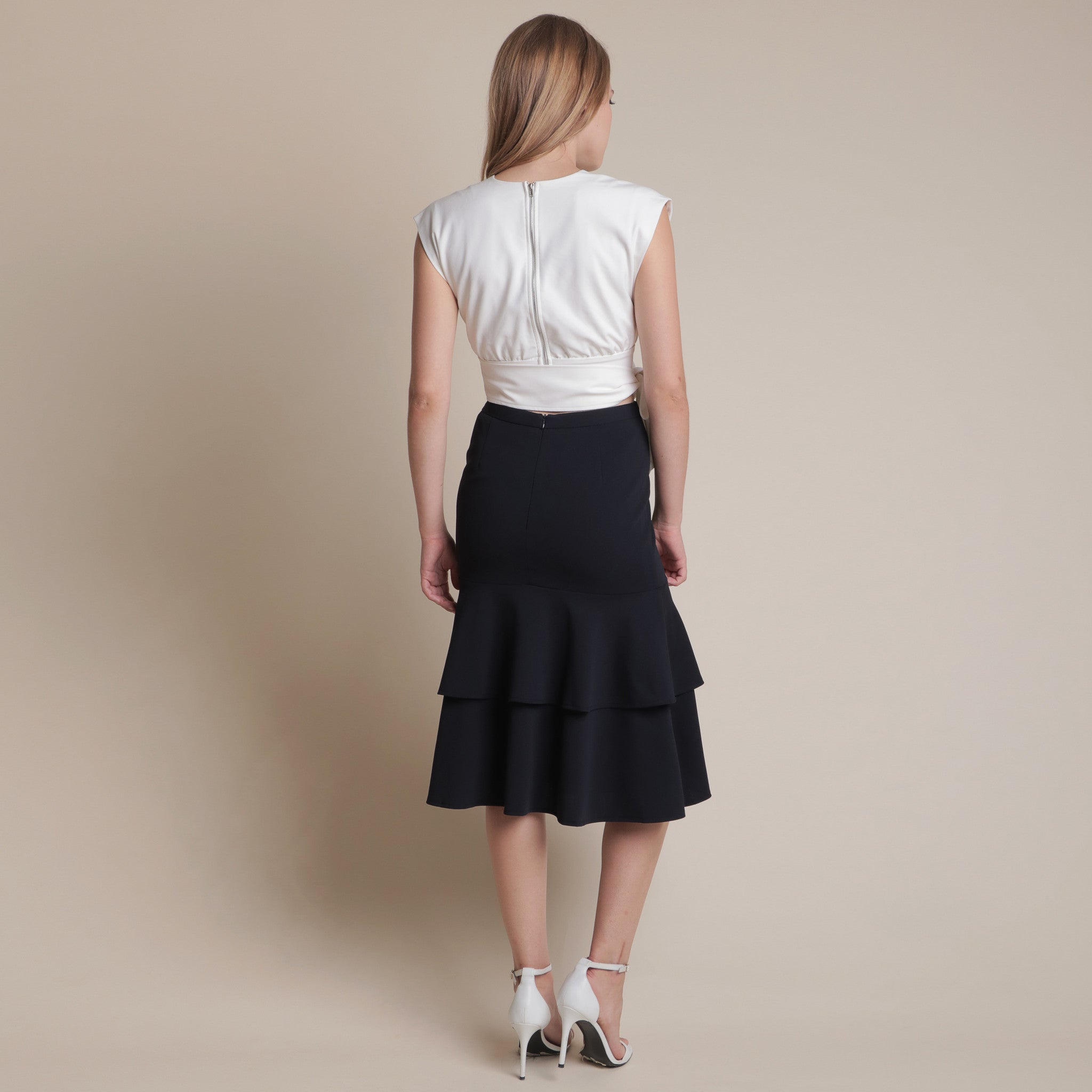 LAYERED MIDI SKIRT <BR> NAVY