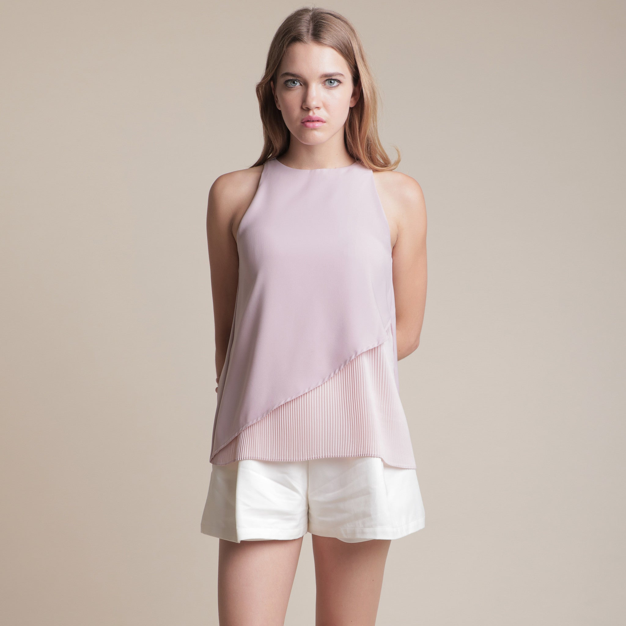 HALF PLEATED TOP <BR> PINK