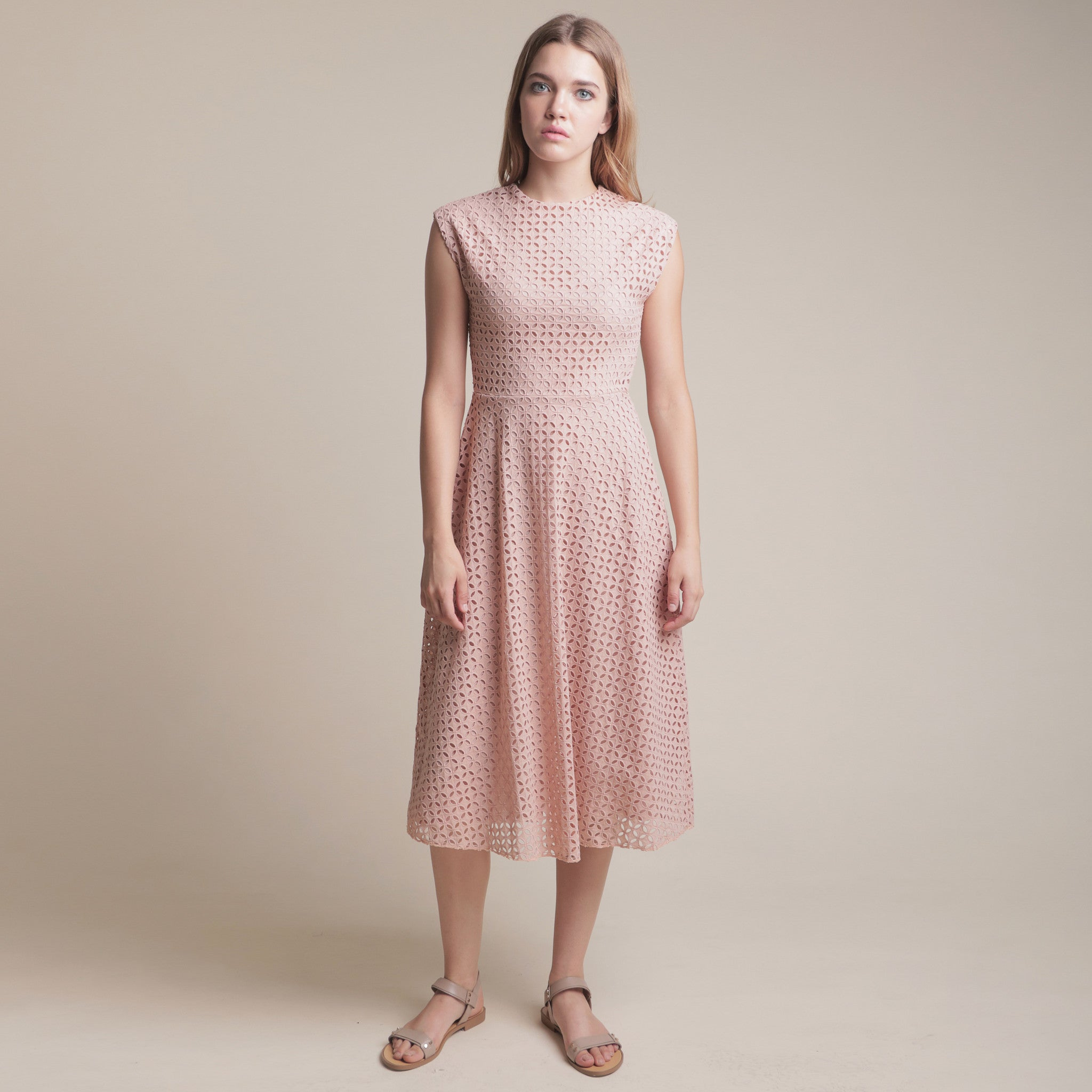 TEXTURED FITTED WAIST MIDI DRESS <BR> NUDE