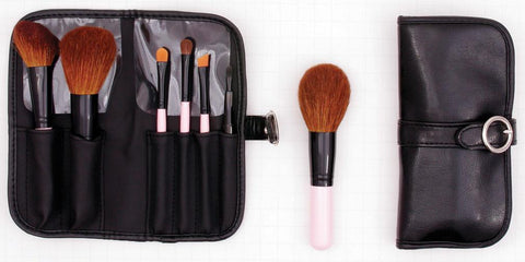 Personalized Pink Buckle Makeup Brush Set
