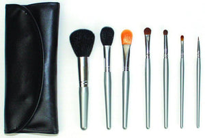 Custom Black Full Brush Set with Silver Brushes