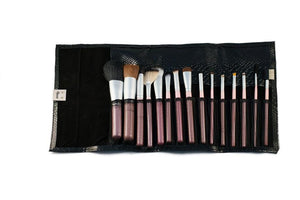 Personalized Pink Handled Makeup Brushes In Black Snake Skin Case