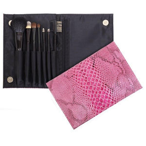 Personalized Travel Pink Snake Makeup Brush Set