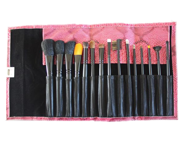 Personalized Pink Snake Skin Makeup Brush Set