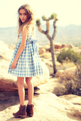 Harriet dress in blue sky check
