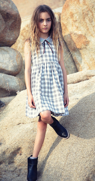 Harriet dress in desert grey check