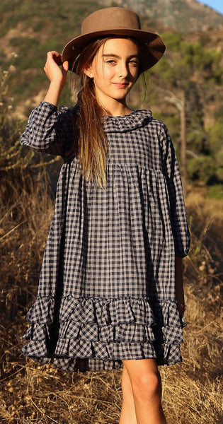 Greta dress in midnight check