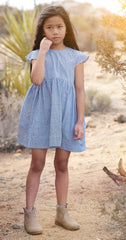 Gloria dress in blueberry check