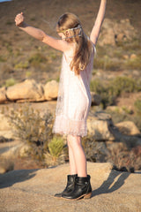 Nettie party dress in sparkle blush pink