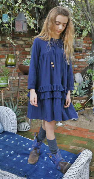Ava dress in dark denim