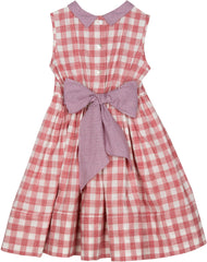 Harriet dress in brick red check