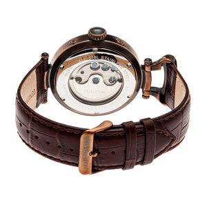 Heritor Automatic Ganzi Semi-Skeleton Leather-Band Watch - Bronze - HERHR3308