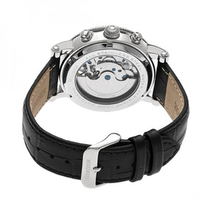 Heritor Automatic Winston Semi-Skeleton Leather-Band Watch - Silver/Black - HERHR5202