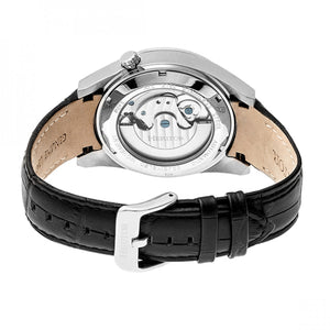 Heritor Automatic Alexander Semi-Skeleton Leather-Band Watch - Silver/White - HERHR4901