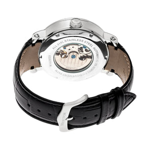 Heritor Automatic Aries Skeleton Leather-Band Watch - Black/White - HERHR4404