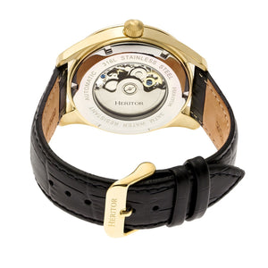 Heritor Automatic Stanley Semi-Skeleton Leather-Band Watch - Gold/Silver - HERHR6505