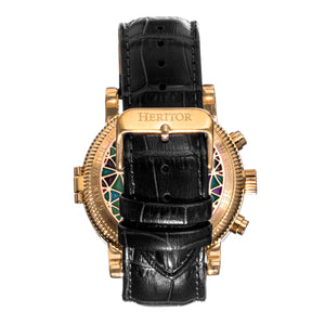 Heritor Automatic Legacy Leather-Band Watcch w/Day/Date - Gold/Black - HERHR9703
