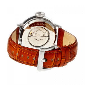 Heritor Automatic Olds Leather-Band Watch - Silver/Black/Camel - HERHR3204