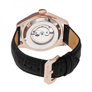 Heritor Automatic Barnes Leather-Band Watch w/Date - Rose Gold/Black - HERHR7106
