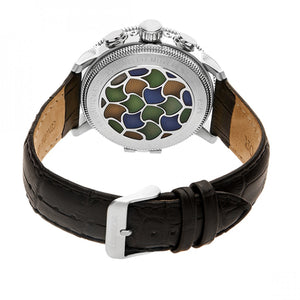 Heritor Automatic Aura Men's Semi-Skeleton Leather-Band Watch - Silver/White - HERHR3504