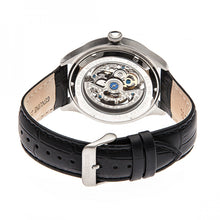 Load image into Gallery viewer, Heritor Automatic Odysseus Leather-Band Skeleton Watch - Silver/Black - HERHR3704