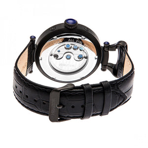 Heritor Automatic Ganzi Semi-Skeleton Leather-Band Watch - Black - HERHR3307