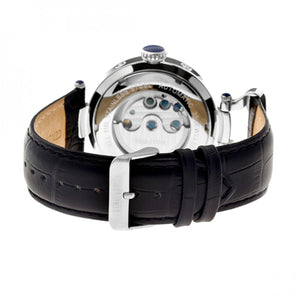 Heritor Automatic Ganzi Semi-Skeleton Leather-Band Watch - Silver - HERHR3301