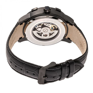 Heritor Automatic Callisto Semi-Skeleton Leather-Band Watch - Black - HERHR7206