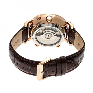Heritor Automatic Edmond Leather-Band Watch w/Date - Rose Gold/Black - HERHR6205
