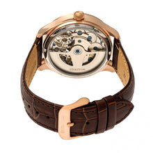 Load image into Gallery viewer, Heritor Automatic Winthrop Leather-Band Skeleton Watch - Rose Gold/Silver - HERHR7305