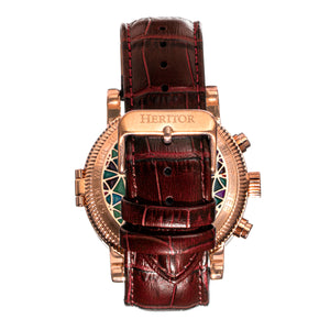Heritor Automatic Legacy Leather-Band Watcch w/Day/Date - Rose Gold/Brown - HERHR9704