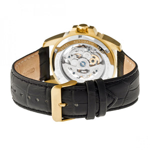 Heritor Automatic Armstrong Skeleton Leather-Band Watch - Gold/Black - HERHR3404