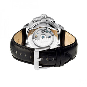 Heritor Automatic Lennon Semi-Skeleton Leather-Band Watch - Silver - HERHR2801