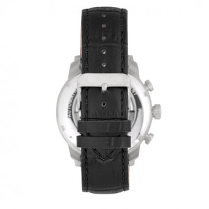 Heritor Automatic Arthur Semi-Skeleton Leather-Band Watch w/ Day/Date - Silver/Black - HERHR7902