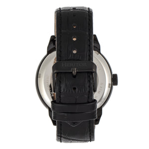 Heritor Automatic Sanford Semi-Skeleton Leather-Band Watch - Black - HERHR8305