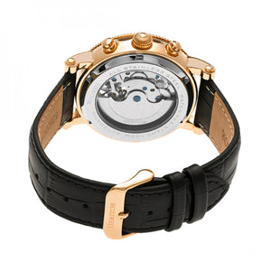 Heritor Automatic Winston Semi-Skeleton Leather-Band Watch - Rose Gold/White - HERHR5205