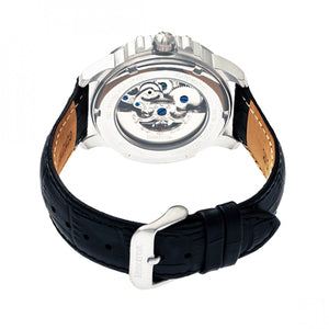 Heritor Automatic Bonavento Semi-Skeleton Leather-Band Watch - Silver/Black - HERHR5602