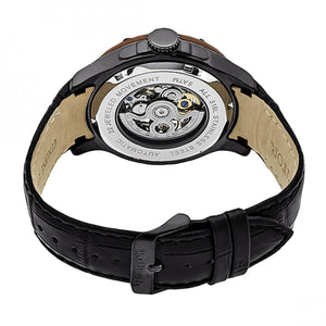 Heritor Automatic Belmont Skeleton Leather-Band Watch - Black - HERHR3907