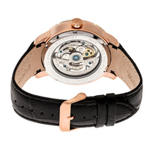 Load image into Gallery viewer, Heritor Automatic Ryder Skeleton Leather-Band Watch - Black/Rose Gold - HERHR4606