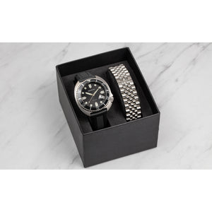 Heritor Automatic Matador Box Set with Interchangable Bands and Date Display - Black/Silver - HERHR9301