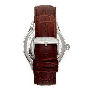 Heritor Automatic Hayward Semi-Skeleton Leather-Band Watch - Silver/Navy - HERHR9403
